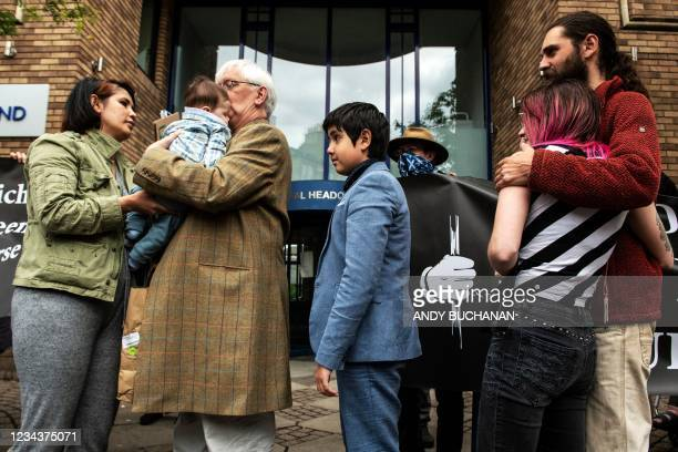 Britain's former ambassador to Uzbekistan, Craig Murray spends final moments with members of his family, wife Nadira Alieva and their 5 month old son...