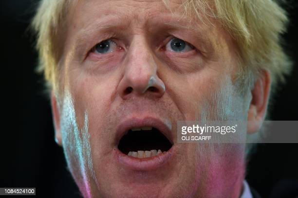 Britain's former Foreign Secretary Boris Johnson speaks at an event at JCB in Rocester central England on January 18 2019 British Prime Minister...