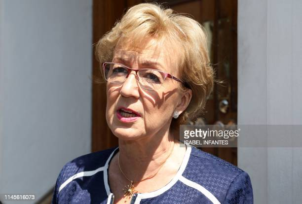 Britain's former Leader of the House of Commons Andrea Leadsom reacts as she leaves from her home in London on May 23 2019 UK House of Commons leader...