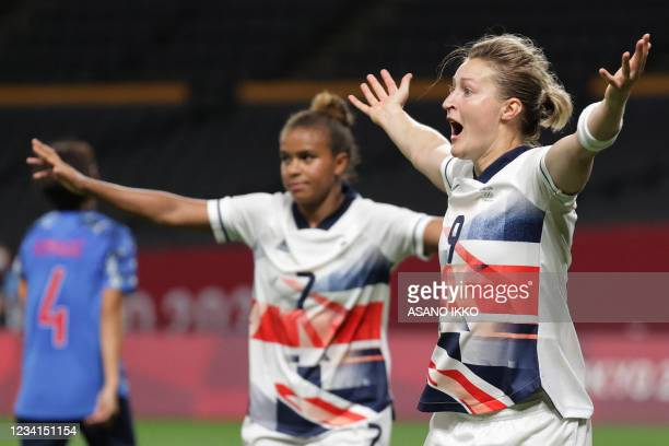 Britain's forward Ellen White celebrates after scoring a goal during the Tokyo 2020 Olympic Games women's group E first round football match between...