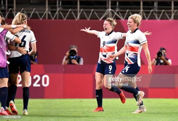 Britain's forward Ellen White shows her jubilation scoring a goal beside defender Millie Bright during the Tokyo 2020 Olympic Games women's...
