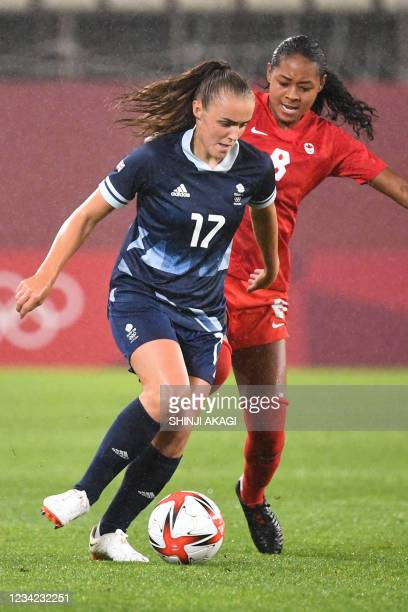 Britain's forward Georgia Stanway controls the ball during the Tokyo 2020 Olympic Games women's group E first round football match between Canada and...