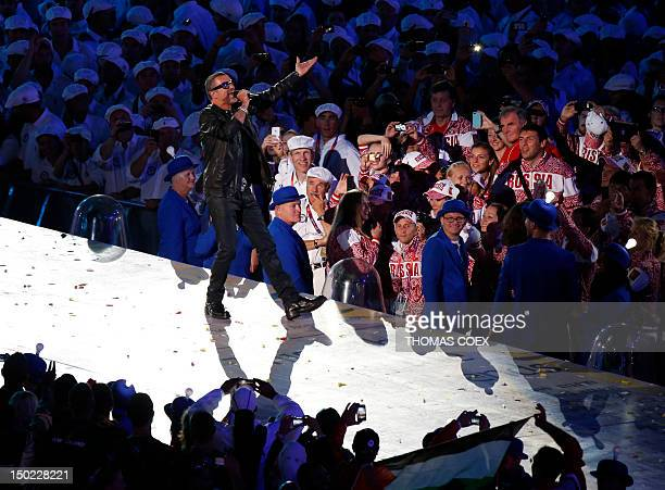 Britain's George Michael performs inside the Olympic stadium during the closing ceremony of the 2012 London Olympic Games in London on August 12 2012...
