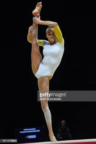 Britain's GeorgiaMae Fenton competes in the women's floor final of the artistic gymnastics at the SSE Hydro during the 2018 European Championships in...