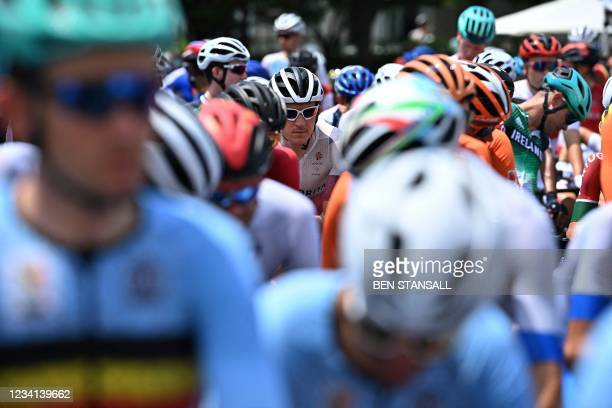Britain's Geraint Thomas looks on before the start of the men's cycling road race during the Tokyo 2020 Olympic Games at Musashinonomori Park outside...