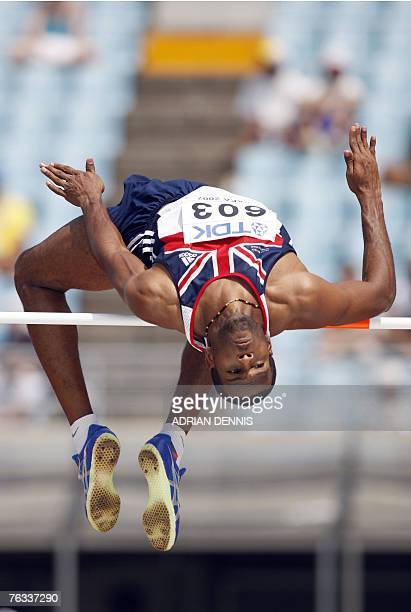 Britain's Germaine Mason competes during the men's high jump qualifications 27 August 2007 at the 11th IAAF World Athletics Championships in Osaka...