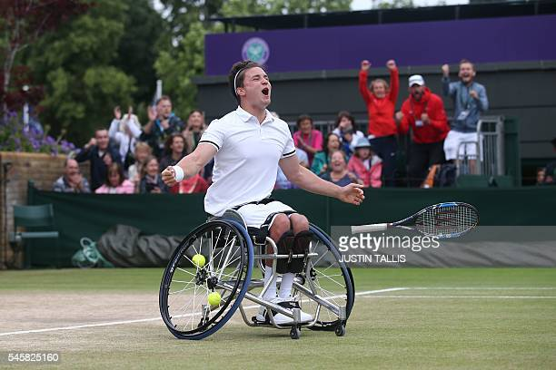 Britain's Gordon Reid celebrates beating Sweden's Stefan Olsson to win the men's wheelchair singles final match on the last day of the 2016 Wimbledon...