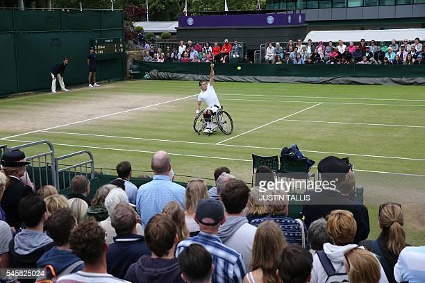 Britain's Gordon Reid returns against Sweden's Stefan Olsson during the men's wheelchair singles final match on the last day of the 2016 Wimbledon...