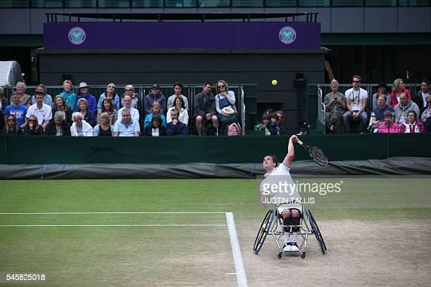 Britain's Gordon Reid serves against Sweden's Stefan Olsson during the men's wheelchair singles final match on the last day of the 2016 Wimbledon...