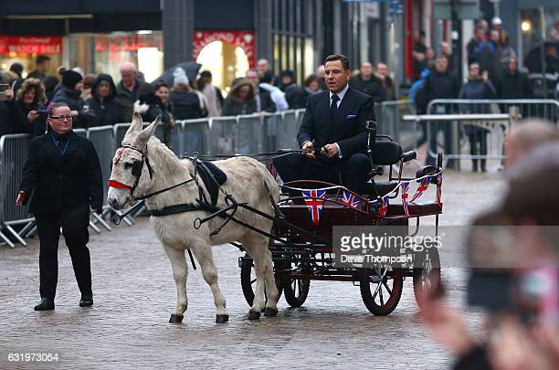 Britain's Got Talent judge David Walliams arrives on a cart pulled by a donkey for the Blackpool auditions for 'Britain's Got Talent' at The Opera...