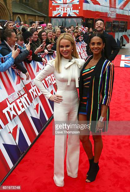 Britain's Got Talent presenter Ant McPartlin jumps behind judges Amanda Holden and Alesha Dixon as they arrive for the Blackpool auditions for...