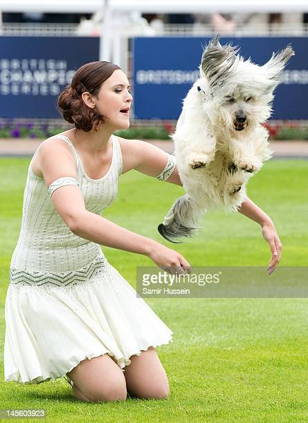 'Britain's Got Talent'winners Ashleigh Butler and dog Pudsey peform at The Derby on June 2 2012 in Epsom England The UK is celebrating the Diamond...