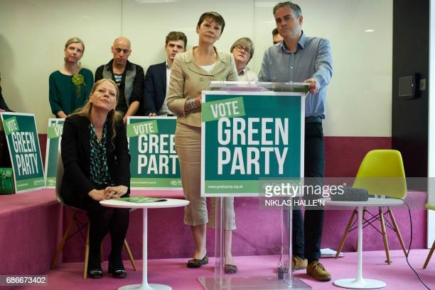 Britain's Green Party coleaders Caroline Lucas and Jonathan Bartley launch the Green Party's 'Green Guarantee' of key priorities for the party at a...