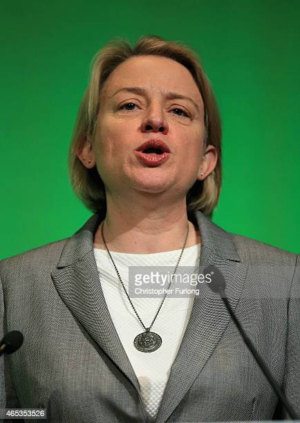 Britain's Green Party leader Natalie Bennett delivers her keynote speech at the party's spring conference at the Arena Convention Centre on March 6...