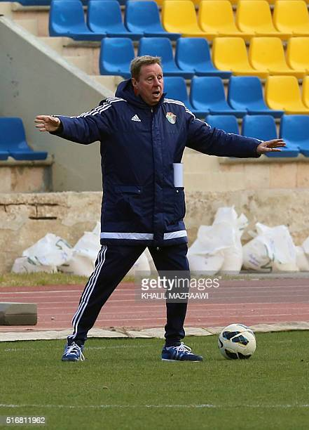 Britain's Harry Redknapp a former Tottenham boss who was nominated as the new manager of Jordan's national team gestures during a training session...