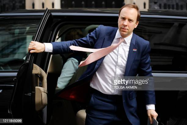 Britain's Health Secretary Matt Hancock arrives in Downing Street in central London on May 5, 2020 for the daily novel coronavirus COVID-19 briefing....