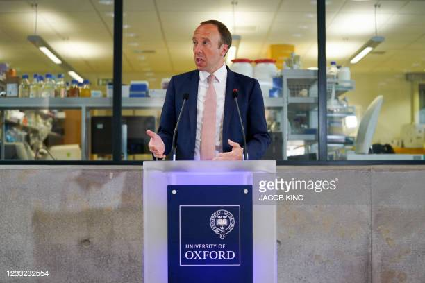 Britain's Health Secretary Matt Hancock delivers a speech on the COVID-19 vaccine programme at the Jenner institute in Oxford, England on June 2,...