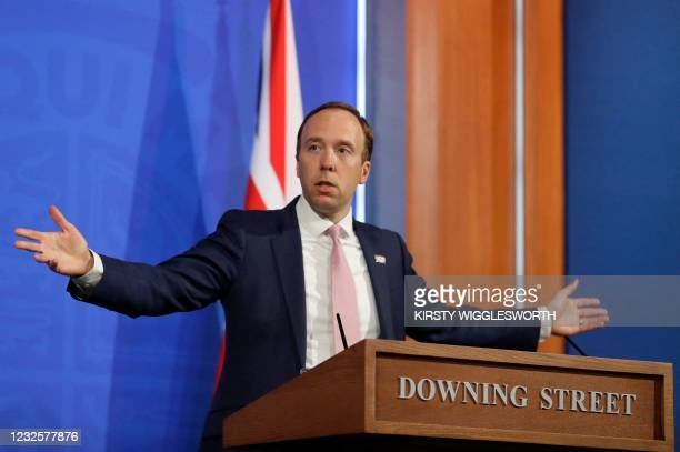 Britain's Health Secretary Matt Hancock gives an update on the coronavirus Covid-19 pandemic during a virtual press conference inside the new Downing...