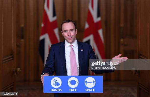 Britain's Health Secretary Matt Hancock hosts a remote press conference to update the nation on the covid19 pandemic inside 10 Downing Street in...