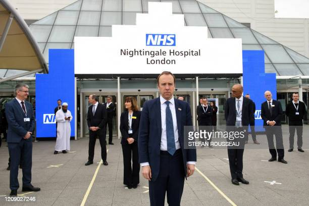 Britain's Health Secretary Matt Hancock prepares for the opening of the NHS Nightingale field hospital created at the ExCeL London exhibition centre...