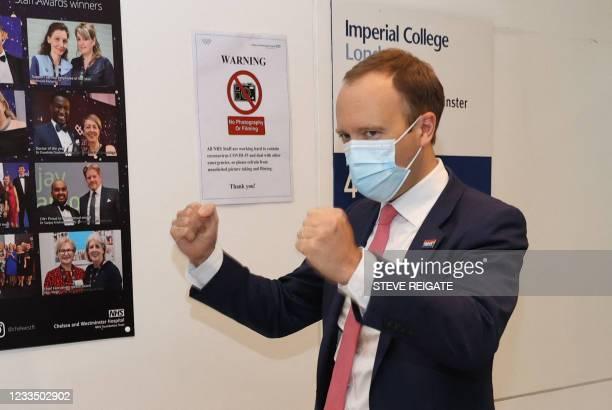 Britain's Health Secretary Matt Hancock visits Chelsea & Westminster Hospital in London on June 17, 2021.