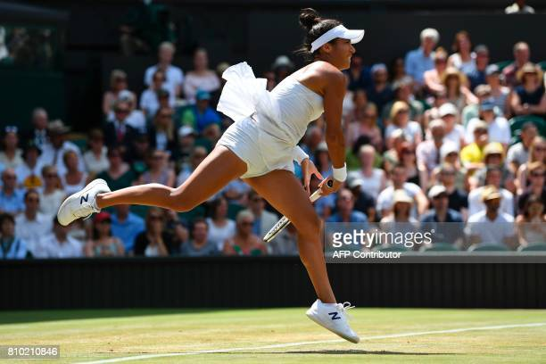 TOPSHOT Britain's Heather Watson serves against Belarus's Victoria Azarenka during their women's singles third round match on the fifth day of the...
