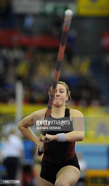 Britain's Holly Bleasdale competes during the Women's Pole Vault during the British Grand Prix Indoor athletics meeting at the National Indoor Arena...