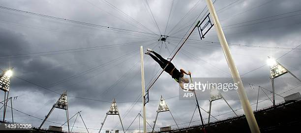 Britain's Holly Bleasdale competes in the pole vault during the British Universities and Colleges Sport Athletics Championships a part of the London...