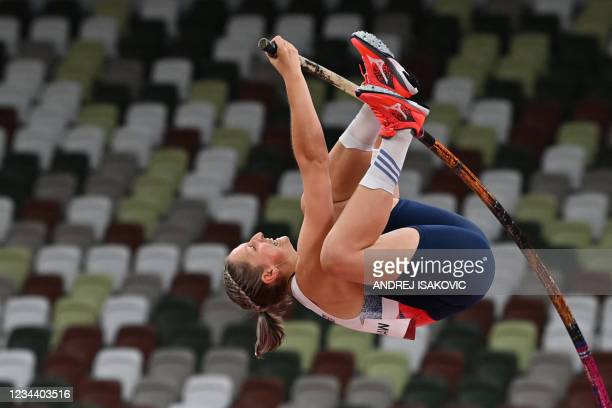 Britain's Holly Bradshaw competes in the women's pole vault qualification during the Tokyo 2020 Olympic Games at the Olympic Stadium in Tokyo on...