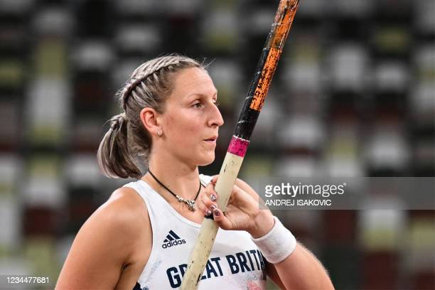 Britain's Holly Bradshaw competes in the women's pole vault final during the Tokyo 2020 Olympic Games at the Olympic Stadium in Tokyo on August 5,...