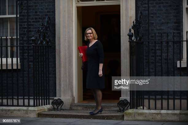 Britain's Home Secretary Amber Rudd arrives at 10 Downing street in central London for a cabinet meeting on January 16 2018