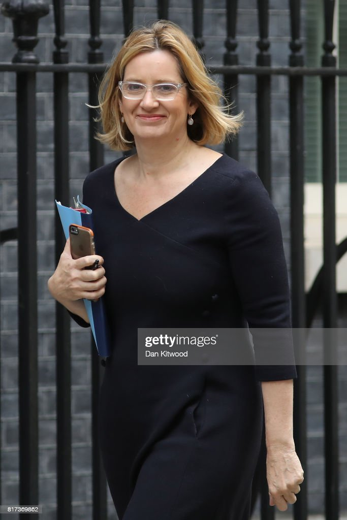 Britain's Home Secretary Amber Rudd arrives at Downing Street for the weekly cabinet meeting on July 18, 2017 in London, England. Prime Minister Theresa May is under pressure after it was revealed that a letter of no confidence in her leadership is in circulation, and after a series of leaks from cabinet ministers.