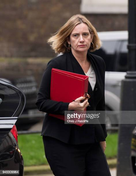 Britain's Home Secretary Amber Rudd arrives for an emergency cabinet meeting at Downing Street on April 12 2018 in London England British Prime...