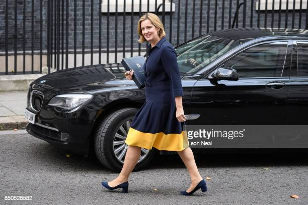 Britain's Home Secretary Amber Rudd arrives in Downing Street for a Cabinet meeting on September 21 2017 in London England The Prime Minister Theresa...