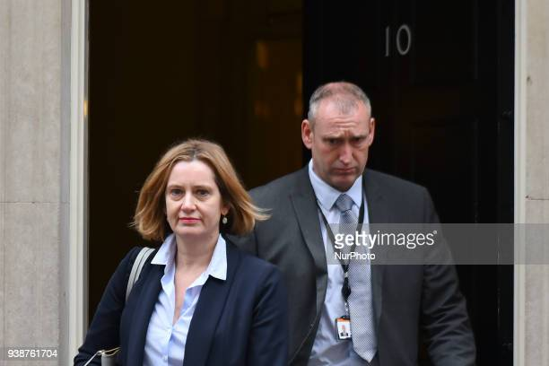 Britain's Home Secretary Amber Rudd leaves 10 Downing Street after attending the weekly Cabinet Meeting London on March 27 2018 Prime Minister...