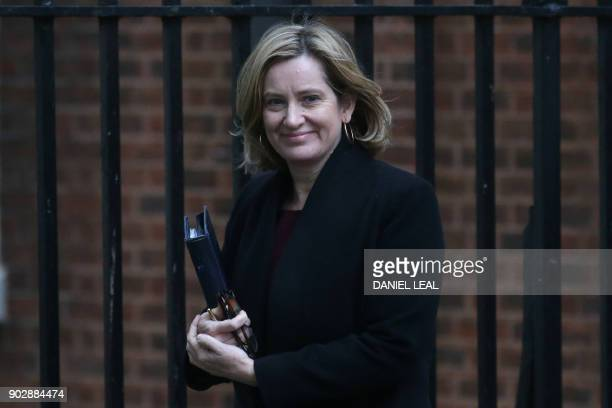Britain's Home Secretary Amber Rudd leaves 10 Downing street in central London after the first cabinet meeting of the new year following a reshuffle...