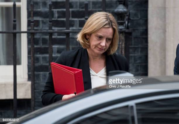 Britain's Home Secretary Amber Rudd leaves after an emergency cabinet meeting at Downing Street on April 12 2018 in London England British Prime...
