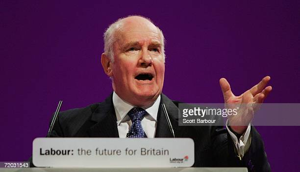 Britain's Home Secretary John Reid delivers his speech during the Labour Party Autumn Conference at the GMEX centre on September 28 2006 in...