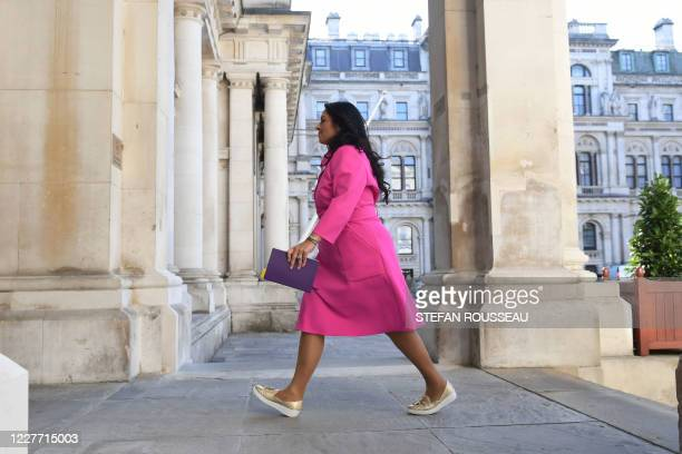 Britain's Home Secretary Priti Patel arrives at the Foreign and Commonwealth office to participate in the first in person cabinet meeting since the...
