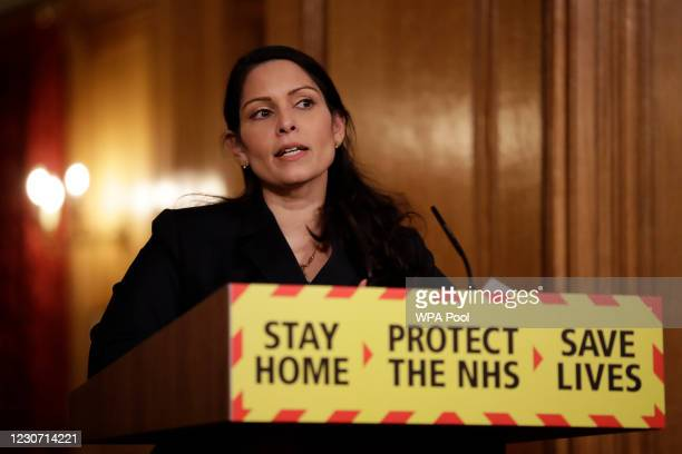 Britain's Home Secretary, Priti Patel speaks during a media briefing on the COVID-19 pandemic in Downing Street on January 21, 2021 in London,...