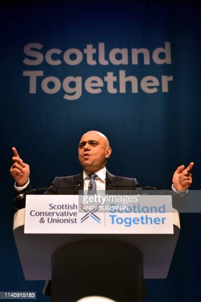 Britain's Home Secretary Sajid Javid addresses the Scottish Conservative party conference in Aberdeen on May 3 2019