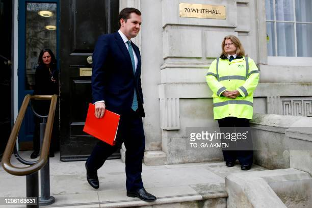 Britain's Housing, Communities and Local Government Secretary Robert Jenrick leaves Downing Street in central London on March 9 after an emergency...