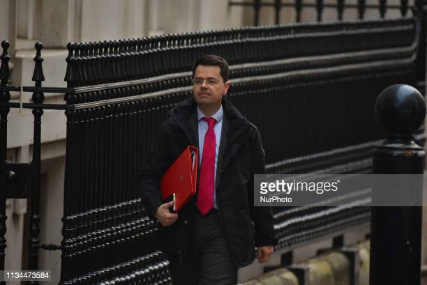 Britain's Housing Secretary James Brokenshire arrives in Downing street London for a cabinet meeting on April 2 2019 The British cabinet is gathering...