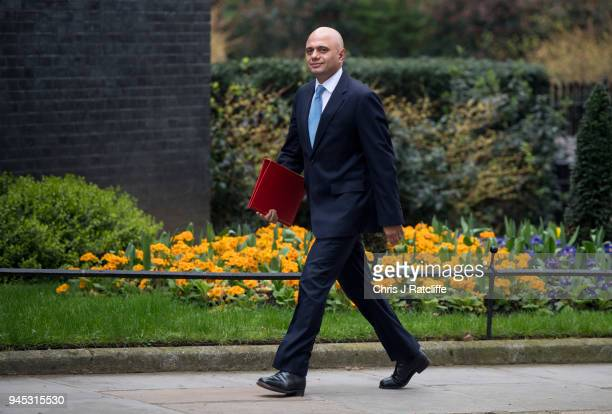 Britain's Housing Secretary Sajid Javid arrives for an emergency cabinet meeting at Downing Street on April 12 2018 in London England British Prime...