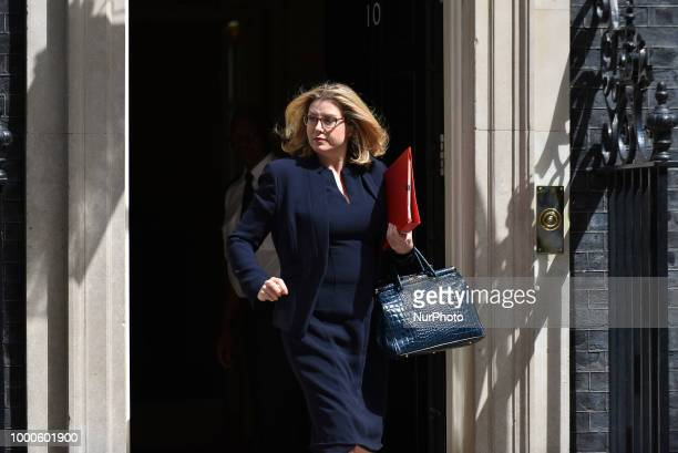 Britain's International Development Secretary and Minister for Women and Equalities Penny Mordaunt leaves Downing Street as he attended the weekly...