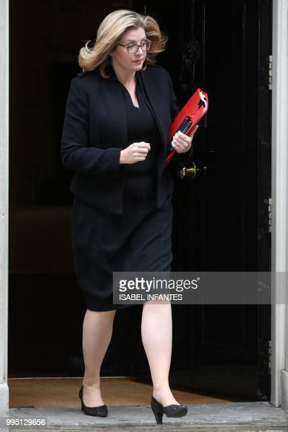 Britain's International Development Secretary and Minister for Women and Equalities Penny Mordaunt leaves 10 Downing Street in central London after...