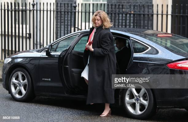 Britain's International Development Secretary Penny Mordaunt arrives to attend the weekly meeting of the Cabinet at 10 Downing Street in central...