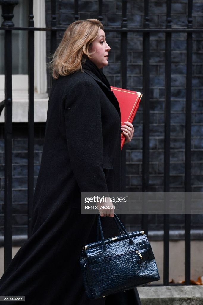 Britain's International Development Secretary Penny Mordaunt leaves 10 Downing Street after attending the weekly meeting of the Cabinet in central London on November 14, 2017. British Prime Minister Theresa May begins a major parliamentary battle over Brexit on Tuesday, facing competing demands by MPs to change her strategy as tensions rise among her scandal-hit ministers. MPs will have their first chance to scrutinise the EU Withdrawal Bill, which would formally end Britain's membership of the European Union and transfer four decades of EU legislation into UK law. / AFP PHOTO / Ben STANSALL