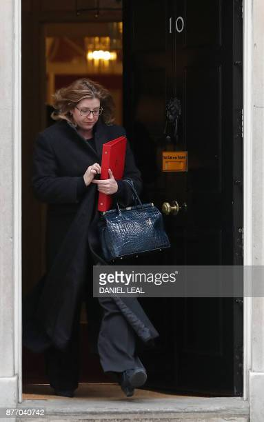 Britain's International Development Secretary Penny Mordaunt leaves 10 Downing Street in central London on November 21 2017 Senior British ministers...