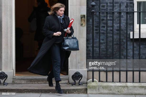 Britain's International Development Secretary Penny Mordaunt leaves number 10 Downing Street in central London on December 19 2017 / AFP PHOTO /...